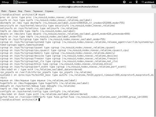 Точки монтирования в Fedora 18