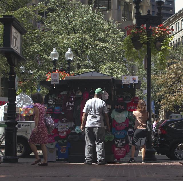 Maite outside of State Street subway, Boston (2016)