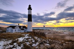 Winter Sunset Big Sable point Lighthouse Ludington State Park by Michigan Nut