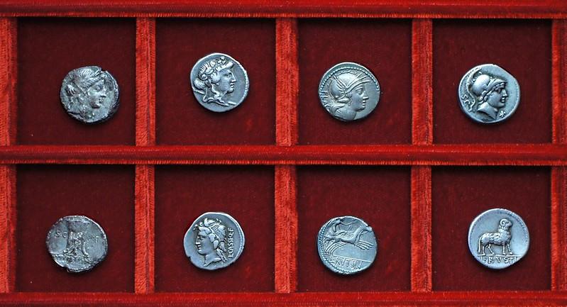 RRC 385 M.VOLTEI S.C.D.T. Volteia, RRC 386 C.CASSI Cassia, RRC 387 L.RVTILI Rutilia, RRC 389 L.RVSTI Rustia, Ahala collection, coins of the Roman Republic