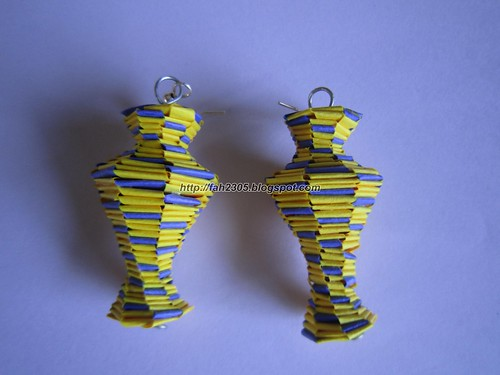 Handmade Jewelry - Paper Lanyard Vase Earrings (3) by fah2305