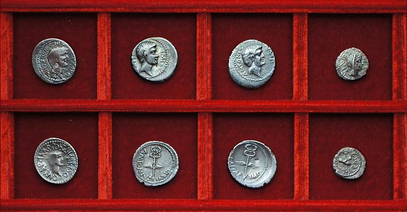 RRC 528 M.ANT CAESAR Antony Octavian, RRC 529 M.ANTON C.CAESAR Antony, Octavian, Ahala collection Roman Republic