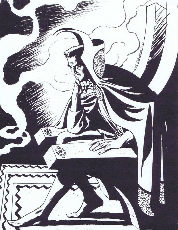 Doctor Strange in deep thought by Steve Rude