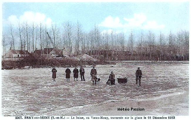 traversée à pied de la Seine gelée le 18 décembre 1933 météopassion