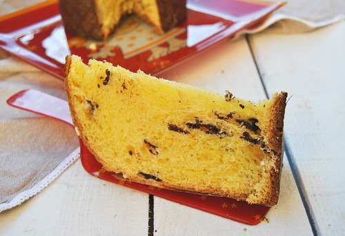 Panettone with chocolate and candied orange peel