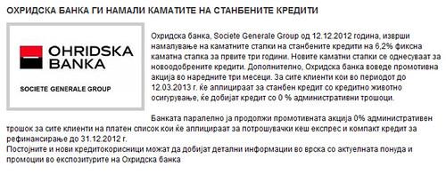 Охридска Банка ги Намали Каматите на Станбените Кредити