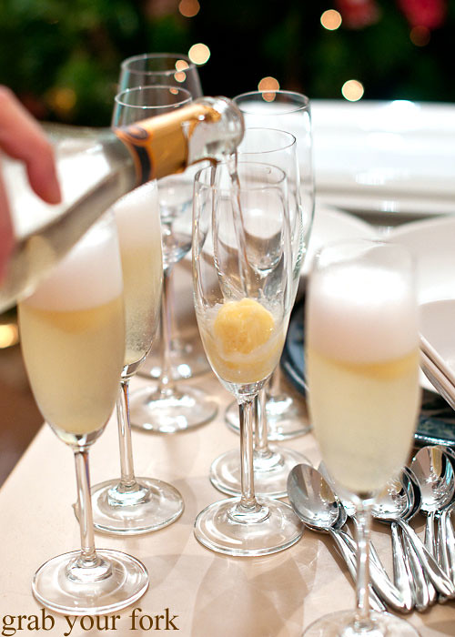 prosecco with pineapple rosemary sorbet at stomachs eleven dinner party christmas 2012