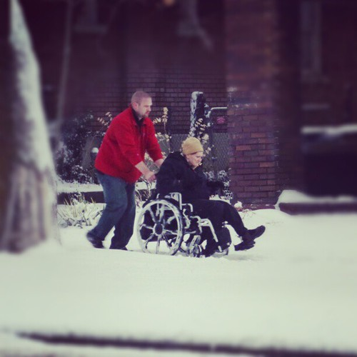 And then I shoved Cody out of the car to help someone stranded in a wheelchair. He's pushed her five blocks.