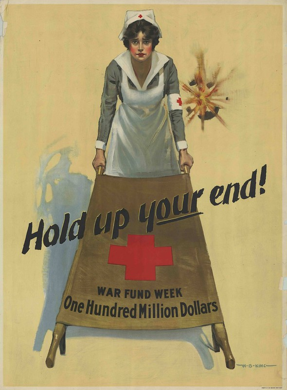 heart-string tugging illustration for war effort with nurse holding one end of a stretcher
