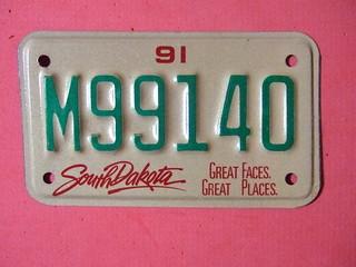 SOUTH DAKOTA 1991 ---MOTORCYCLE LICENSE PLATE #M99140