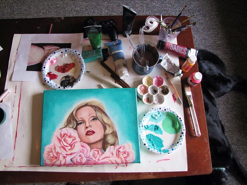 Candy Darling painting in progress