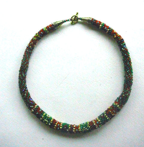 Czhech bead crochet necklace