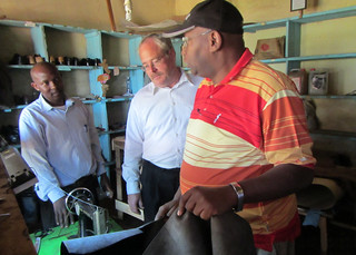 Picture of David Fernandez in Kenya working with members of the Kenya Leather Development Council.