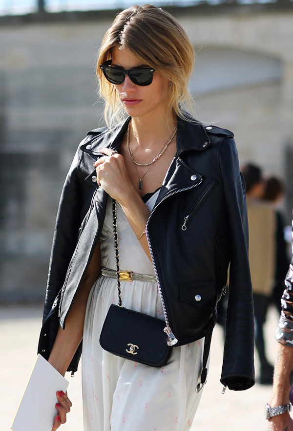 STREET-STYLE-LEATHER-MOTO-JACKET-OVER-THE-SHOULDERS-PARIS-FASHION-WEEK-RAY-BAN-WAYFARER-SUNGLASSES-LAYERED-NECKLACES-SIMPLE-WHITE-DRESS-PEEK-A-BOO-BRA-METALLIC-WAIST-THIN-BELT-SMALL-CHAIN-CHANEL-CROSS-BODY-SHOULDER-BAG-RED-NAILS