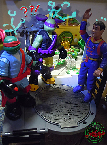 "Nickelodeon ""MUTAGEN OOZE"" TEENAGE MUTANT NINJA TURTLES :: OOZE TOSSIN' RAPH & OOZE SCOOPIN' DONNIE xvi // .. with The Real Ghostbusters: Power Pack Heroes, "" WINSTON ZEDDEMORE"" '89   (( 2013 ))"