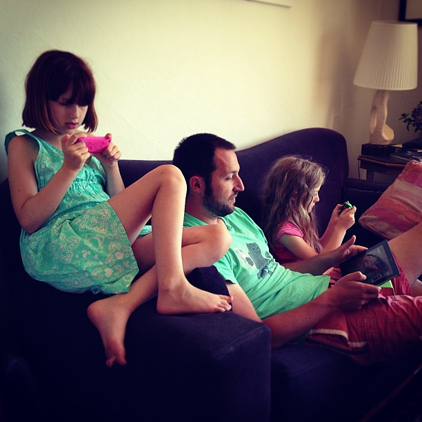 Family bonding time #gaming #generationi #ipod #iphone #ipad #family #unschooling