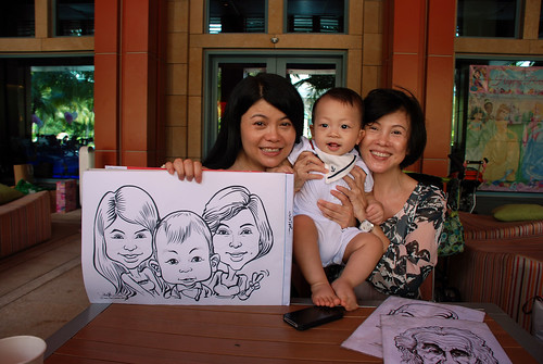 caricature live sketching for Mark Lee's daughter birthday party - 3