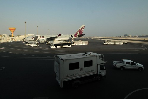 Action out on the north-western apron at Doha