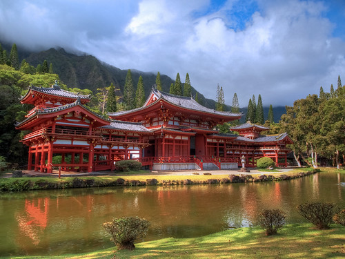 trees mountains reflection water architecture clouds landscape temple hawaii interestingness day cloudy oahu buddhist omd byodoin xploration 1250mmf3563mzuiko