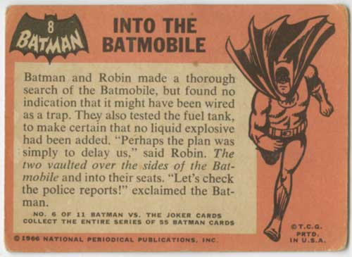 1966 Topps Batman Batmobile back