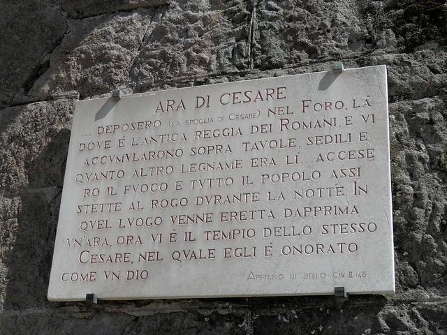 Temple of Divus Julius, Commemorative plaque beside Caesar's altar, Roman Forum, Rome