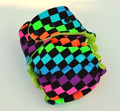 Bumstoppers One Size Hybird Fitted Neon Checkers Cotton Velour