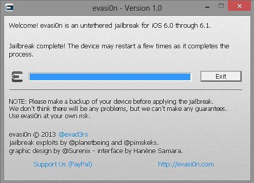 Evasi0n iOS 6.1 untethered jailbreak process complete