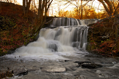 november autumn trees light sunset shadow nature water landscape flow evening waterfall stream warm glow pennsylvania branches falls pa slowshutter shohola
