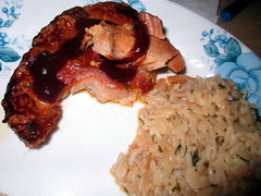 Barbecue Pork Chop And Rice.