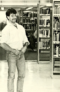 Student in library, Western Carolina University, 1986