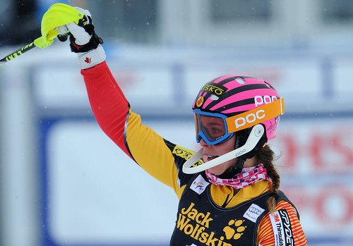 Marie-Michèle Gagnon pleased with her eighth-place performance in super combined in St. Moritz, Switzerland.