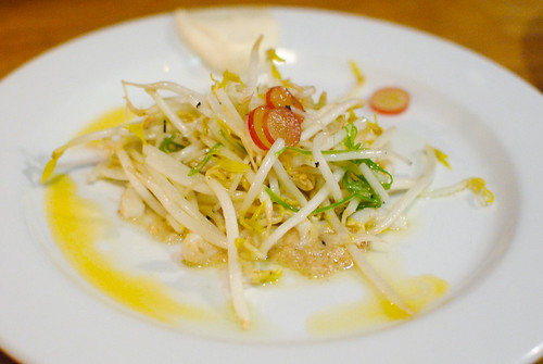 Squid Pad Thai Butter, Grapes, Tofu, Lime Oil, Chili Oil