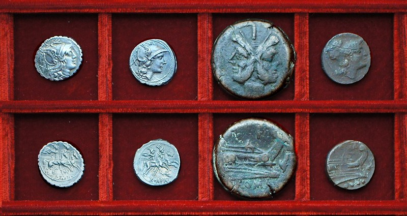 RRC 079 wheel denarius, RRC 80 dolphin denarius and bronzes, Ahala collection, coins of the Roman Republic