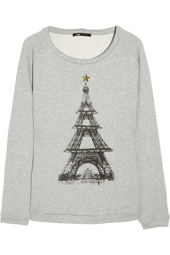 "Maje ""Eiffel Christmas Tower"" Sweater"