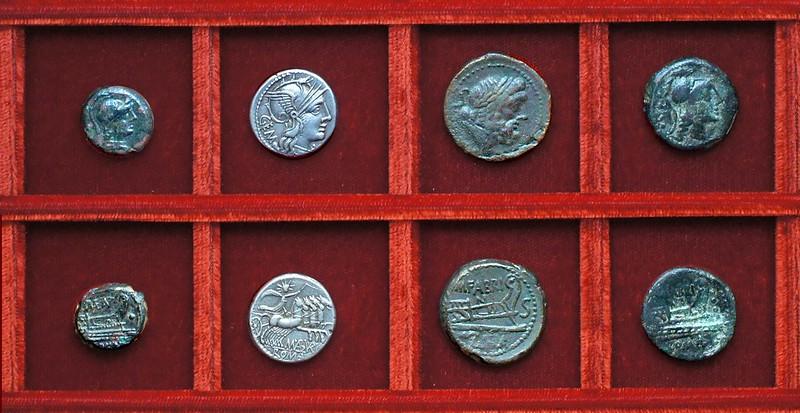 RRC 249 P.MAE.ANT Antestia uncia, RRC 250 M.ABVRI GEM Aburia denarius, RRC 251 M.FABRINI Fabrinia bronzes, Ahala collection, coins of the Roman Republic