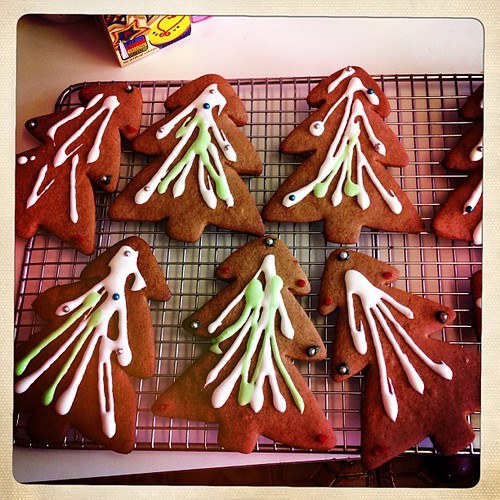 Gingerbread trees iced...these are my Kris Kringle gift... We have a handmade/ recycled/ regifted policy for work! Naturally I'm a handmade kinda gal!