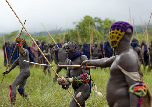 Donga Stick Fighting Ritual, Surma Tribe, Omo Valley, Ethiopia