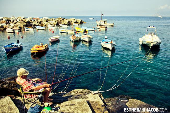 Man fishing in Riomaggiore Marina | Cinque Terre Italy | Travel Photography