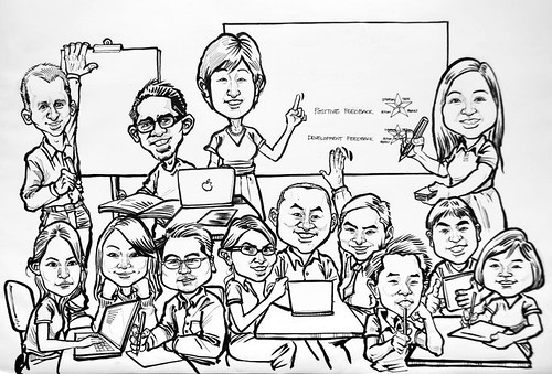 Workshop group caricatures for Genentech (Roche) sketch - 2