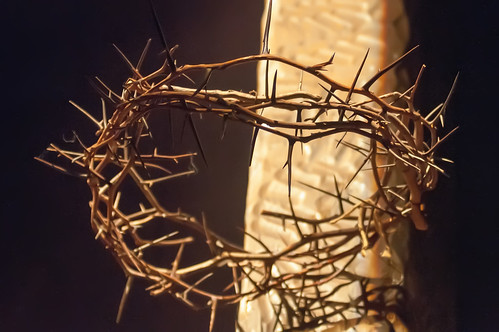 Crown of thorns hung around the Easter cross by DigiDreamGrafix.com