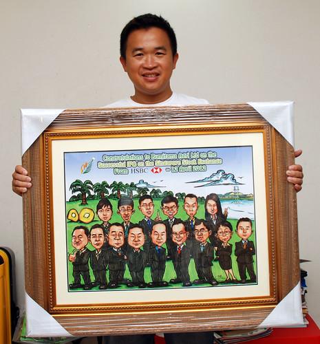 group caricatures for HSBC - Bumitama Agri (original) - printout framed up