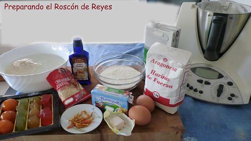 Ingredientes para el Roscón de Reyes.