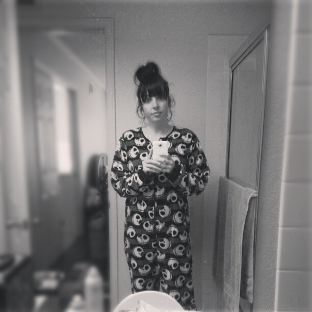 Messy Bathroom: Footie Pajamas. Messy Hair. Dirty Bathroom Mirror. Snacks