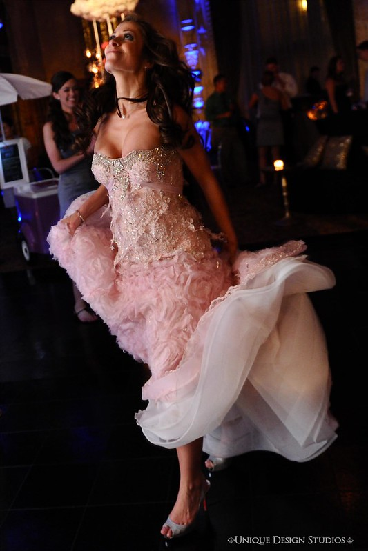 blush bridal gown, Pnina Tornai pink wedding dress