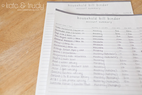 Organization & Time Management   www.kateandtrudy.com - Household Bill Binder