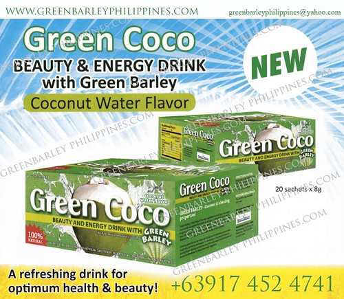 green coco energy drink with green barley