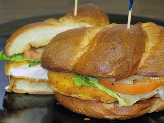 Crispy Caesar chicken sandwich with grilled onions