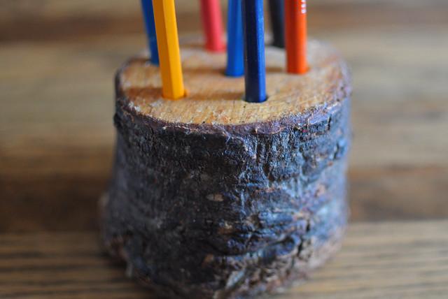 tree stump pencil holder