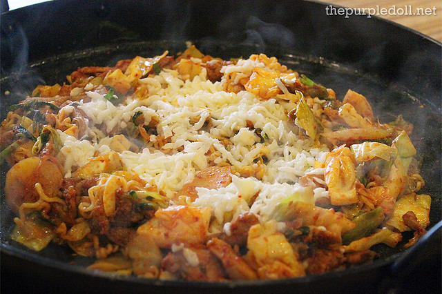 Yoogane's Marinated Chicken Galbi with Mozzarella and Ramen Noodles