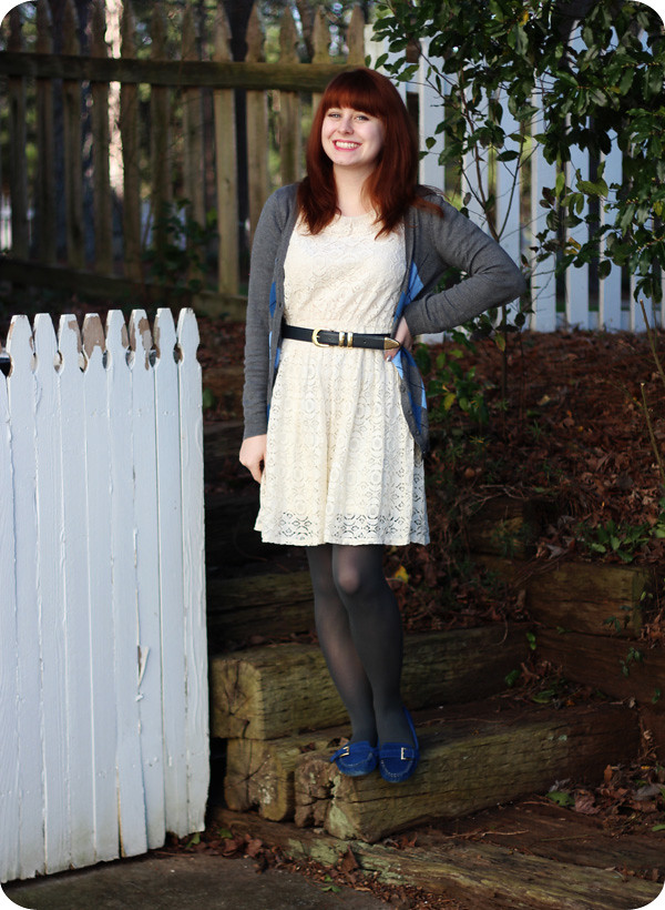 Winterizing a Lace Dress with an Argyle Cardigan and Moccasins